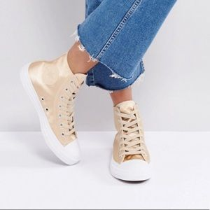 Parchment high top satin converse